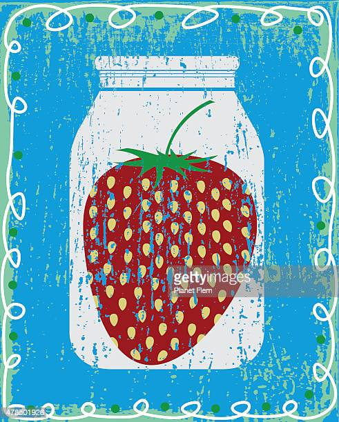 strawberry in a jar - marmalade stock illustrations, clip art, cartoons, & icons