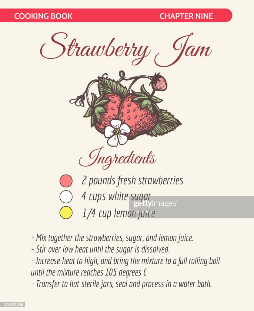 Strawberry jam recipe book page