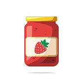 Strawberry jam vector isolated illustration
