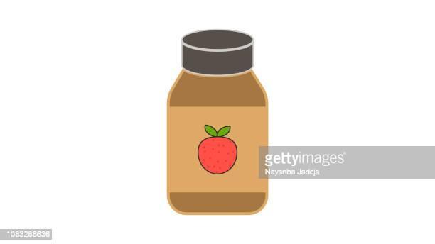 strawberry juice bottle - marmalade stock illustrations, clip art, cartoons, & icons