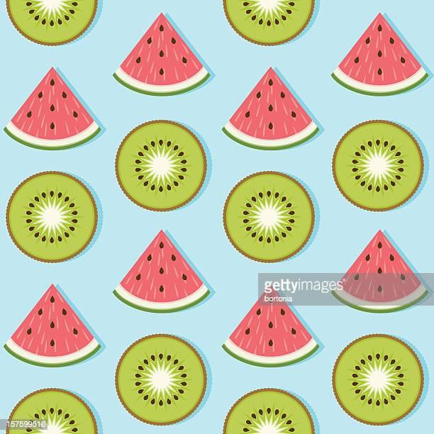 ilustrações de stock, clip art, desenhos animados e ícones de morango quivi sem costura padrão - fruta kiwi