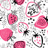 strawberry pattern on white background and abstract background