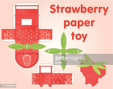 Strawberry Printable Paper Toy Vector Art