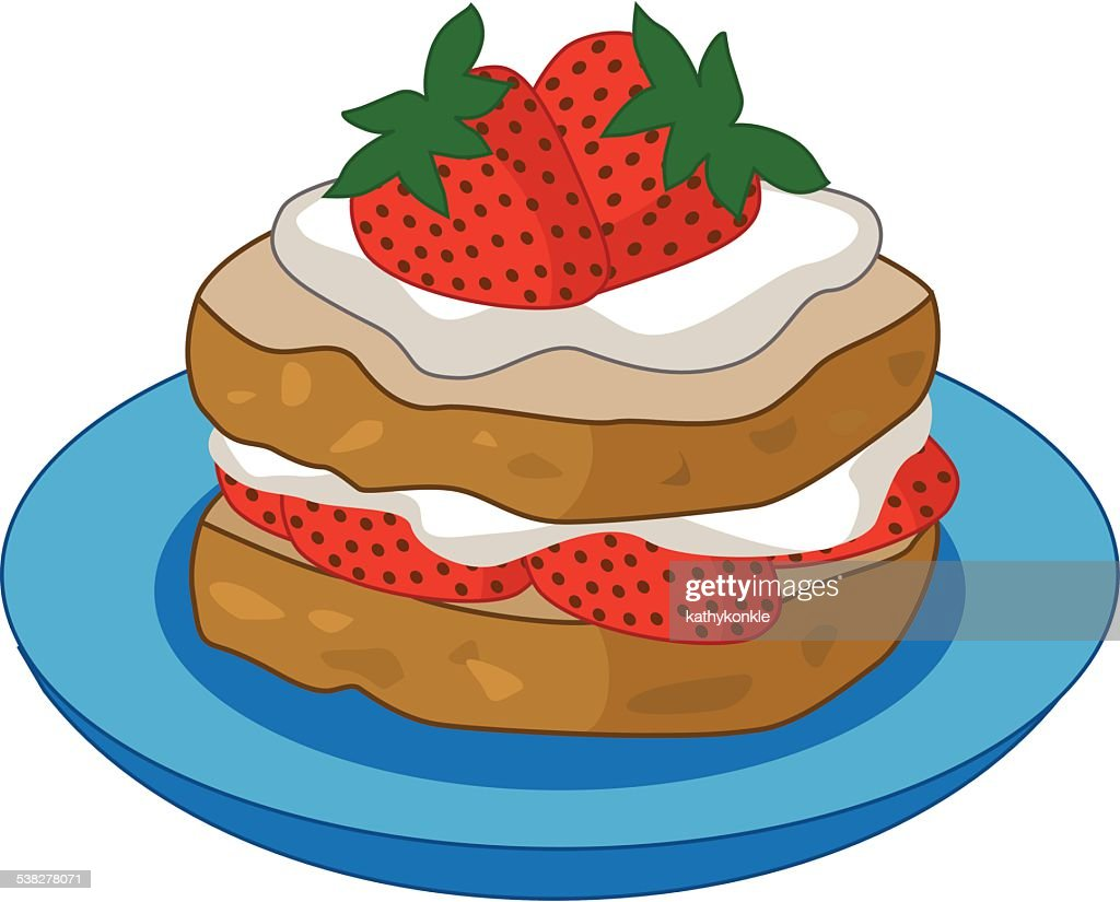 strawberry shortcake on a plate color vector illustration