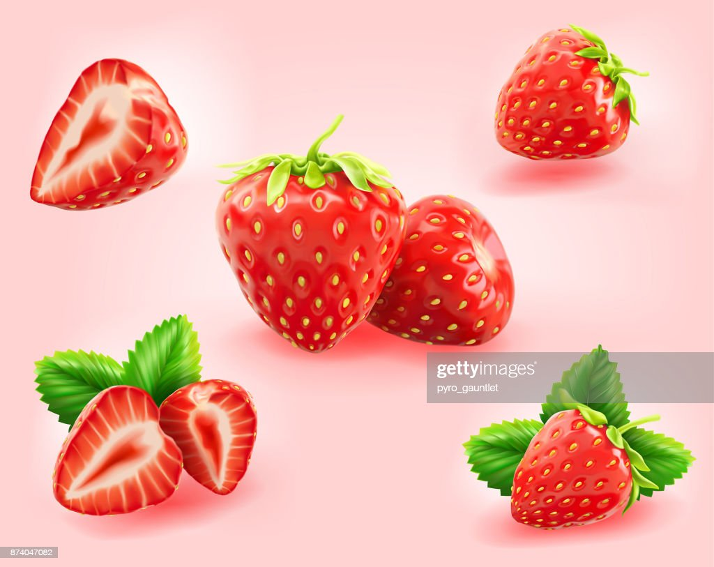 strawberry slice,half,leaf isolated on light pink background