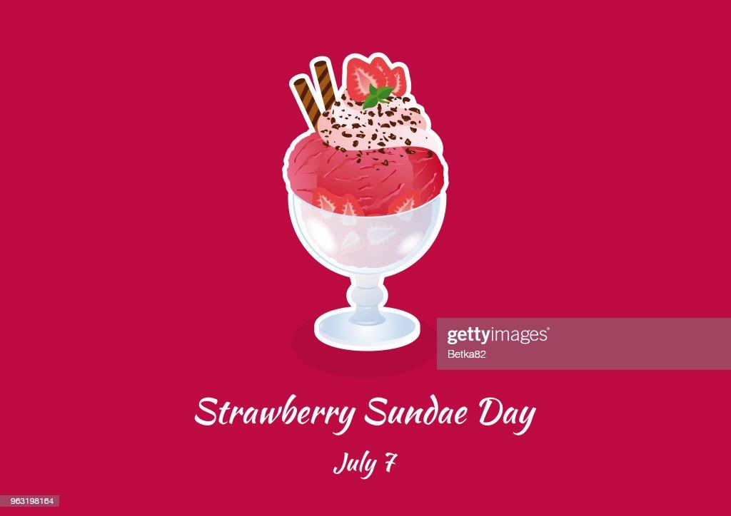 Strawberry Sundae Day vector