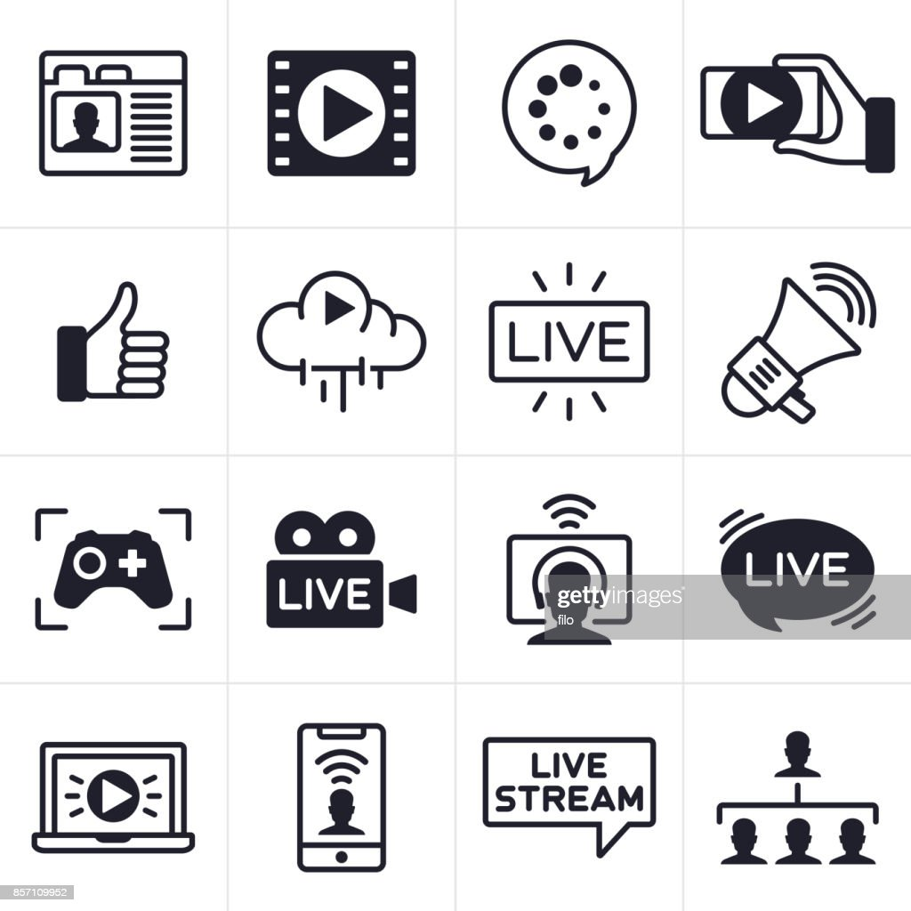 Streaming Icons and Symbols : stock illustration