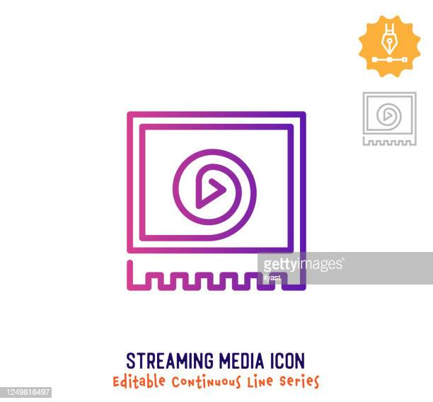 streaming media continuous line editable icon - unbroken film stock illustrations