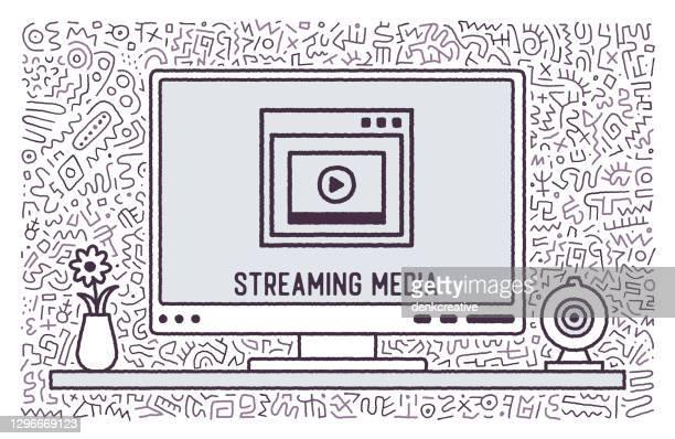bildbanksillustrationer, clip art samt tecknat material och ikoner med strömmande media vector doodle design - film and television screening