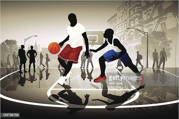 ilustraciones, imágenes clip art, dibujos animados e iconos de stock de calle de básquetbol - cancha de baloncesto