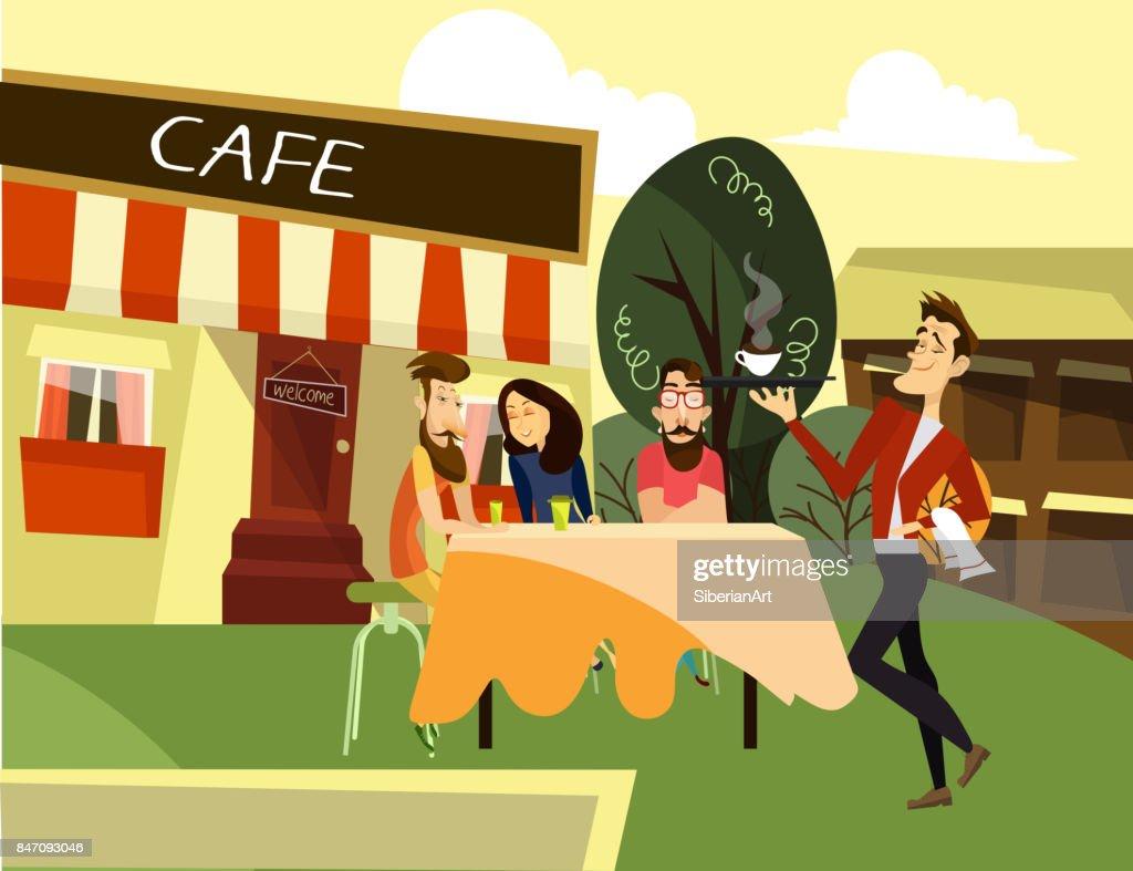 Street cafe concept vector illustration