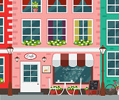 Street cafe exterior. Vector flat design