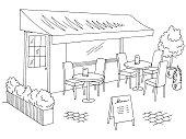 Street cafe graphic black white sketch exterior illustration vector