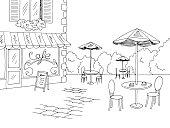 Street cafe graphic black white sketch illustration vector