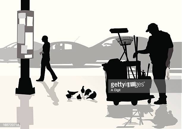 street cleaner vector silhouette - street sweeper stock illustrations