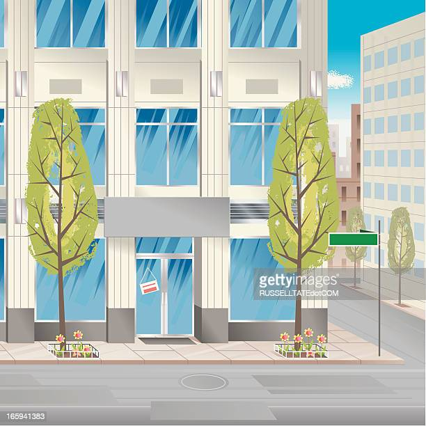street ecke - gewerbeimmobilie stock-grafiken, -clipart, -cartoons und -symbole