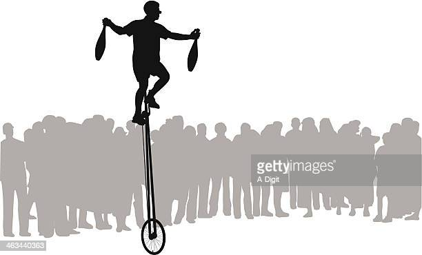 street entertainment - unicycle stock illustrations, clip art, cartoons, & icons
