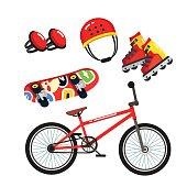 Street extreme sports gear set, bike, skates