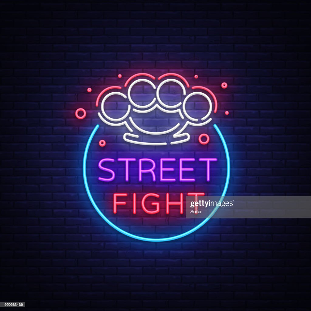 Street fight  in neon style. Fight Club neon sign.  with brass knuckles. Sports neon sign on night fighting, mixed fighting, MMA. Light banner, night bright advertising. Vector illustration