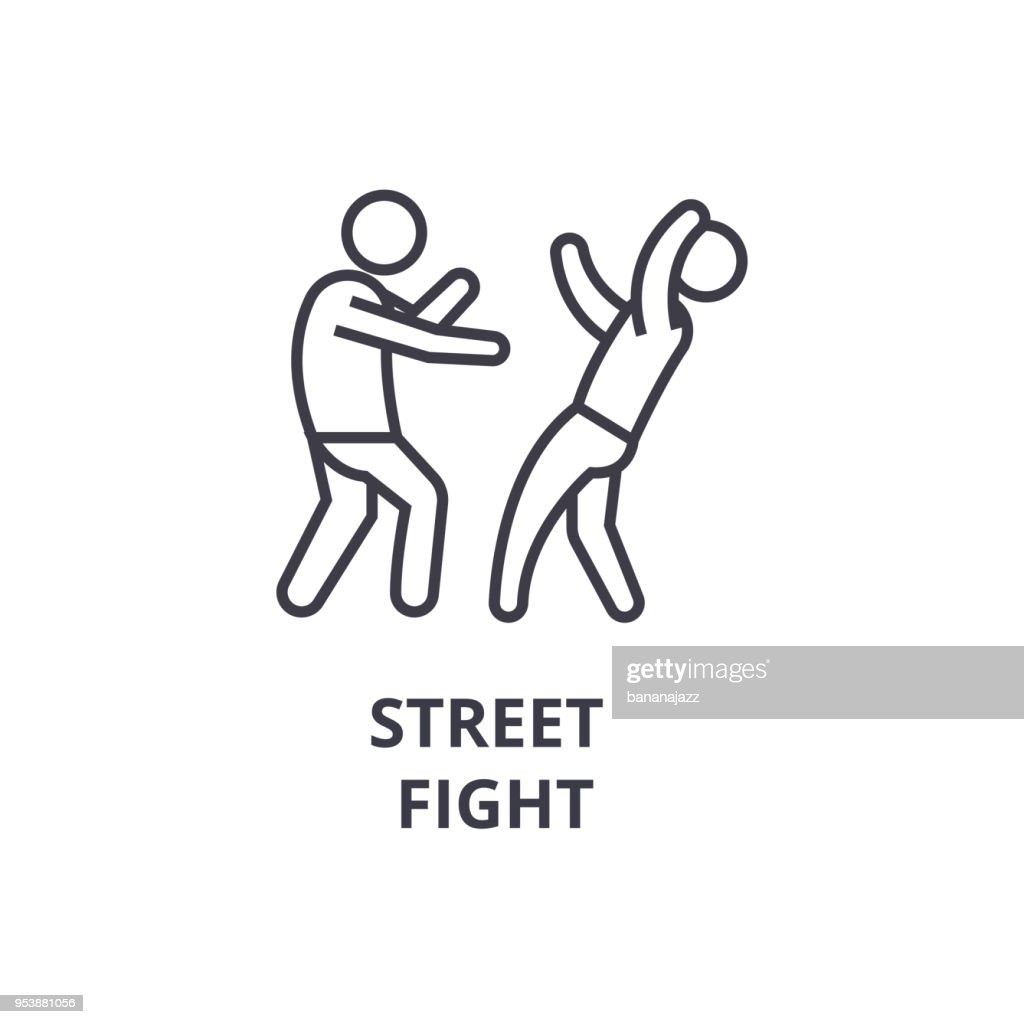 street fight thin line icon, sign, symbol, illustation, linear concept, vector