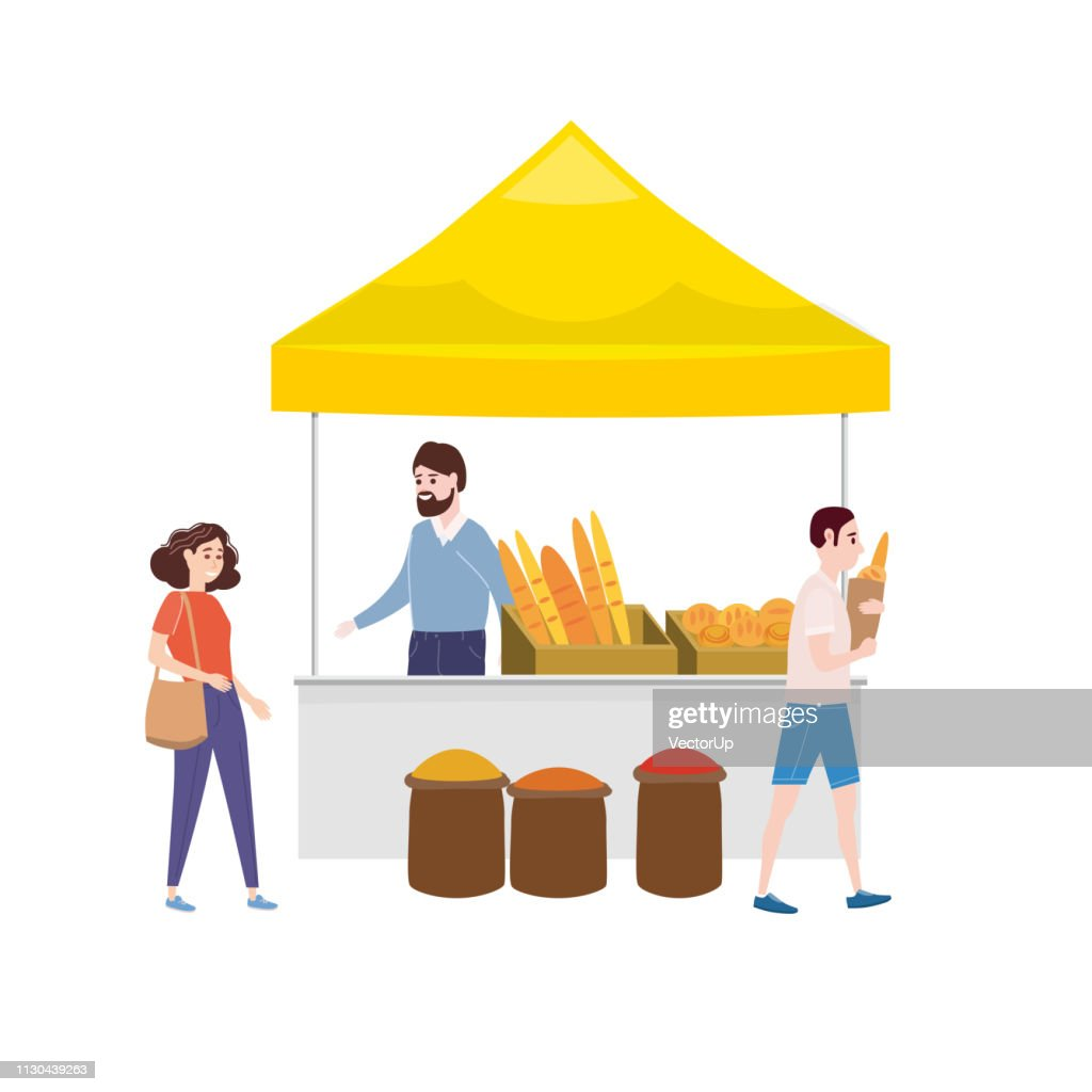 Street food bakery market talls canopy and baked goods. Seller and Buyers. Vector, Illustration, Isolated, Banner, Template Cartoon flat