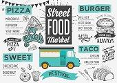 Street food menu, design template.