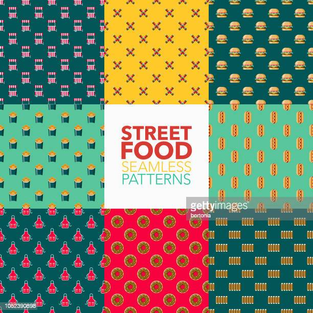 ilustrações de stock, clip art, desenhos animados e ícones de street food seamless pattern set - batata frita