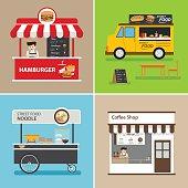 street food shop flat design