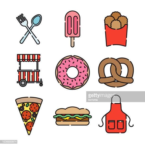 屋台の食べ物の細い線のアイコンを設定 - エプロン点のイラスト素材/クリップアート素材/マンガ素材/アイコン素材