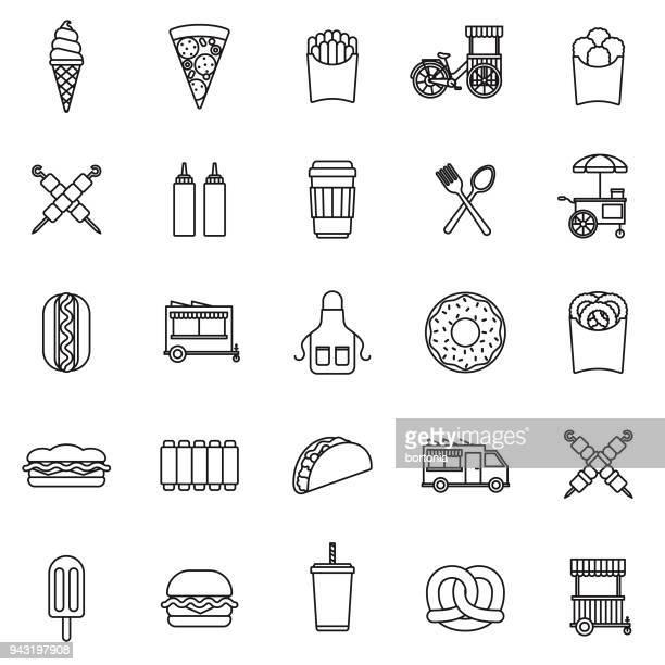 ilustrações, clipart, desenhos animados e ícones de conjunto de ícones de linha fina de comida de rua - frito