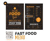 Street junk food festival menu cover design. Festival Design template with hand-drawn graphic elements and lettering. Vector menu board.