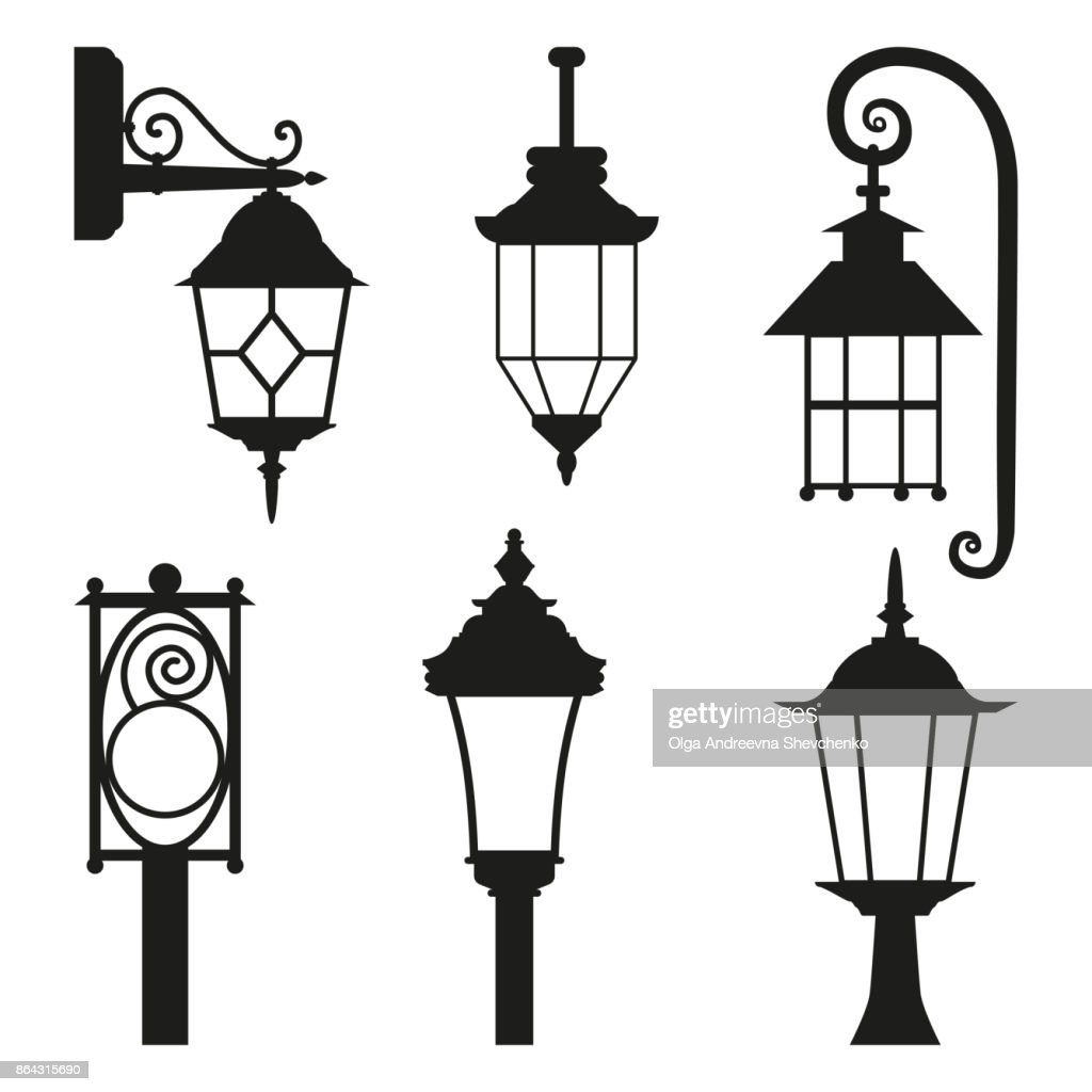 Street lamp black silhouette set isolated on white background.