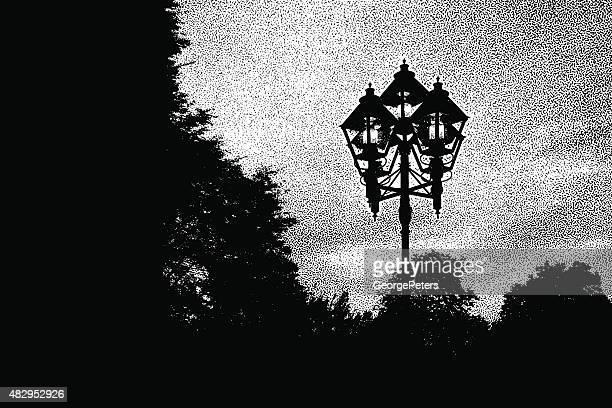 street ランプで、ケベック州モントリオール旧市街、 - ガス燈点のイラスト素材/クリップアート素材/マンガ素材/アイコン素材