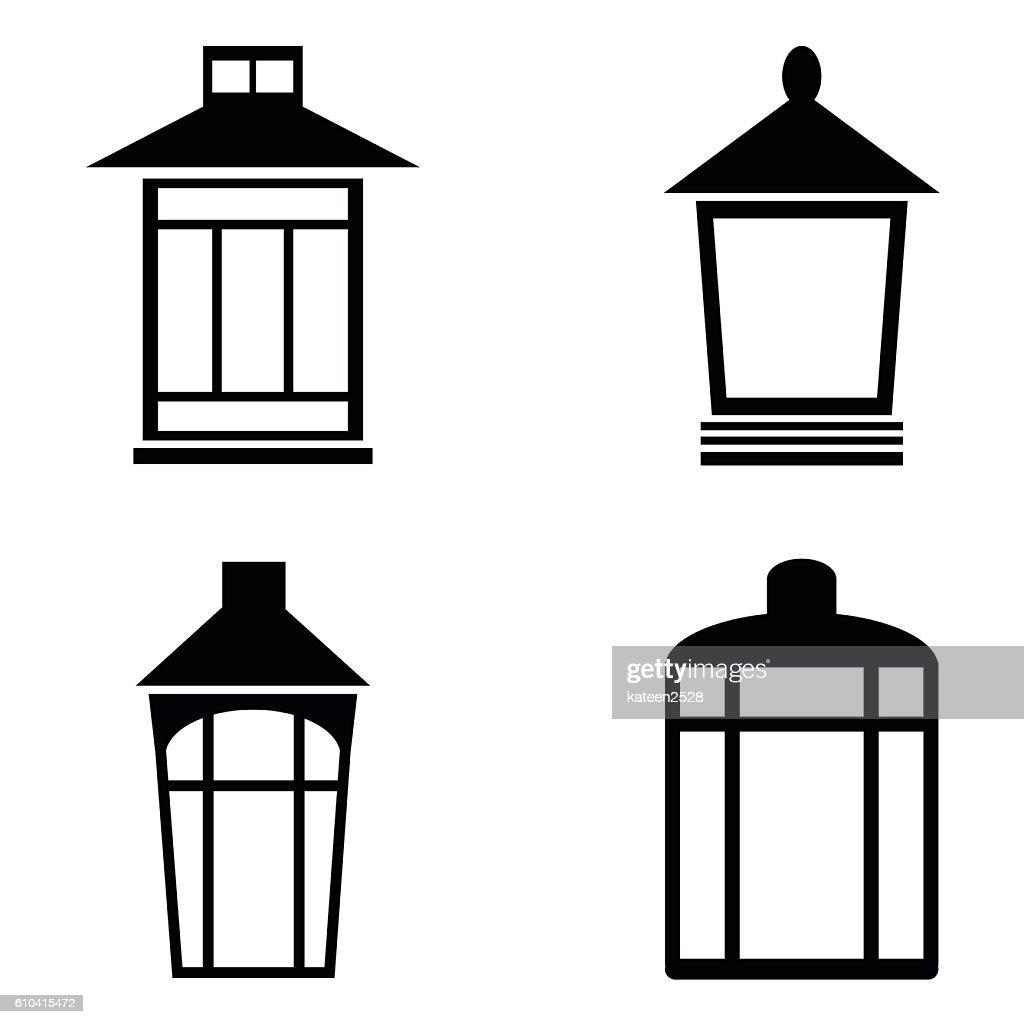 Street lamps icon set