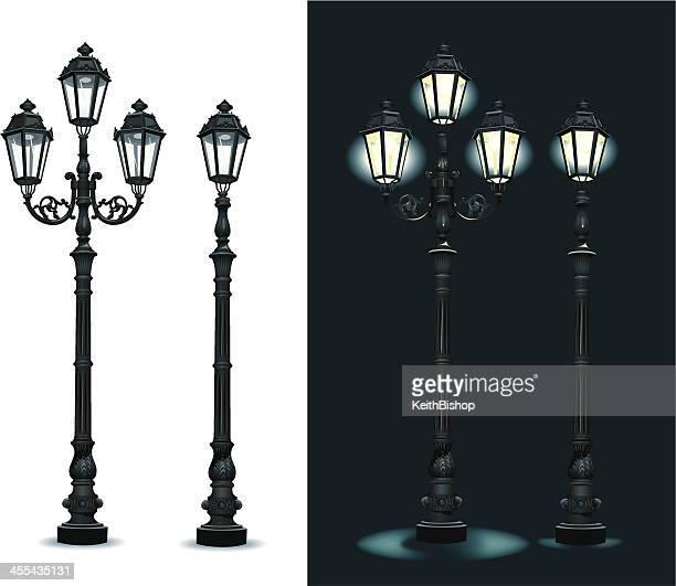 street lamps - lighting equipment - street light stock illustrations