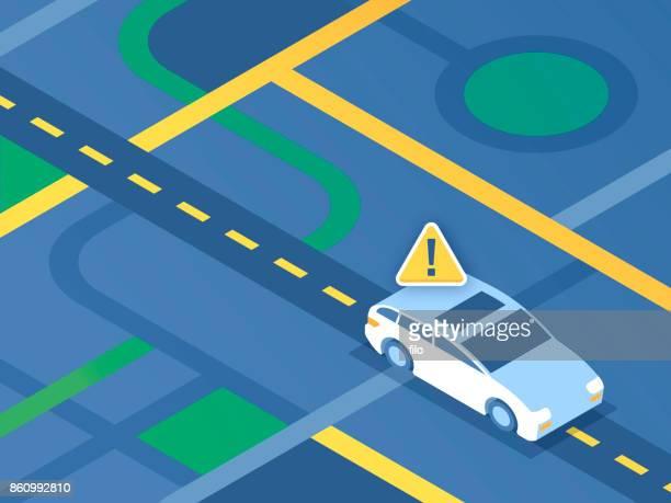 stockillustraties, clipart, cartoons en iconen met straat navigatie auto - foutmelding