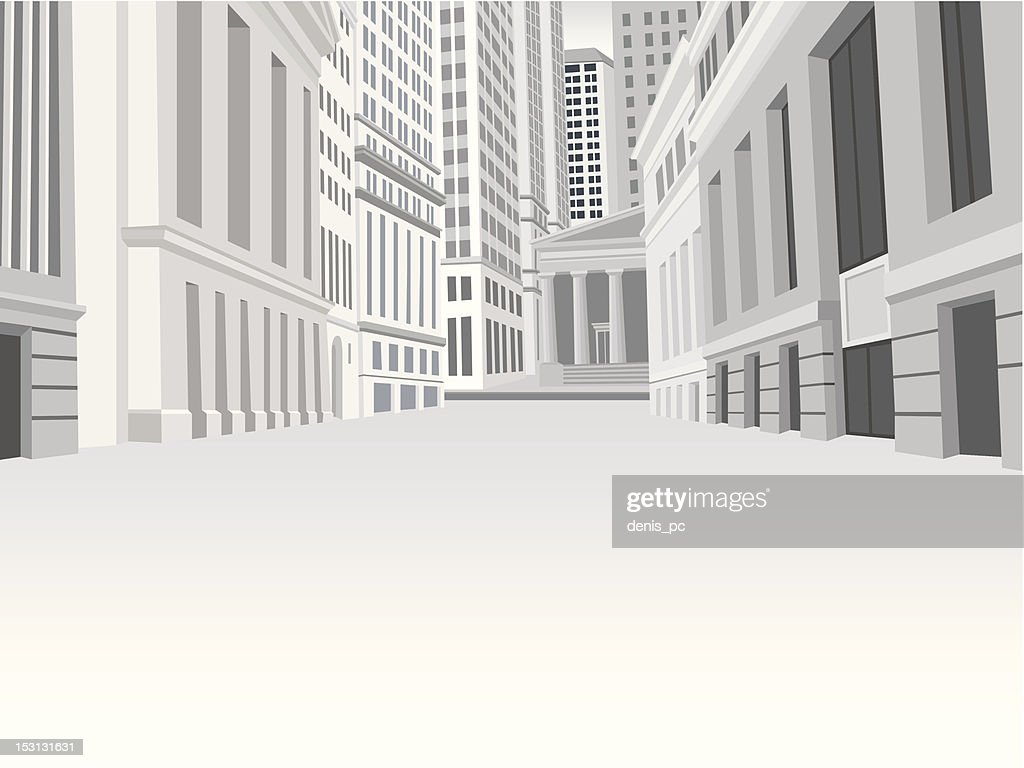 Street of downtown financial district in New York