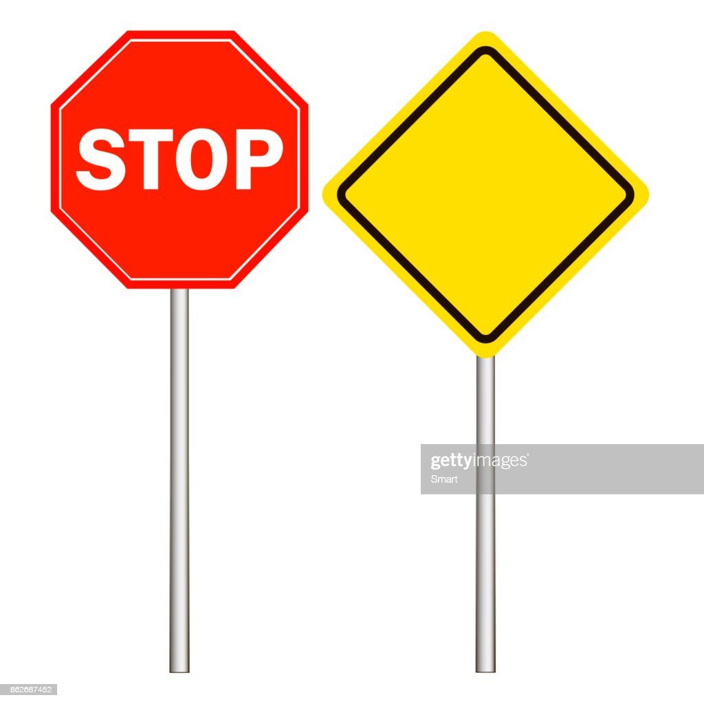Street, road signs, main road sign, stop sign on a white background