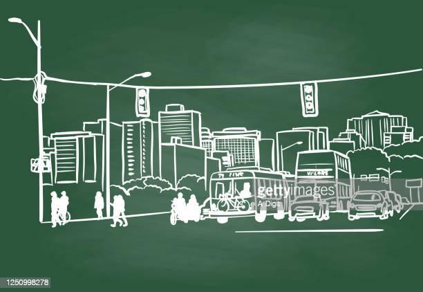 street scene chalkboard - pedestrian stock illustrations