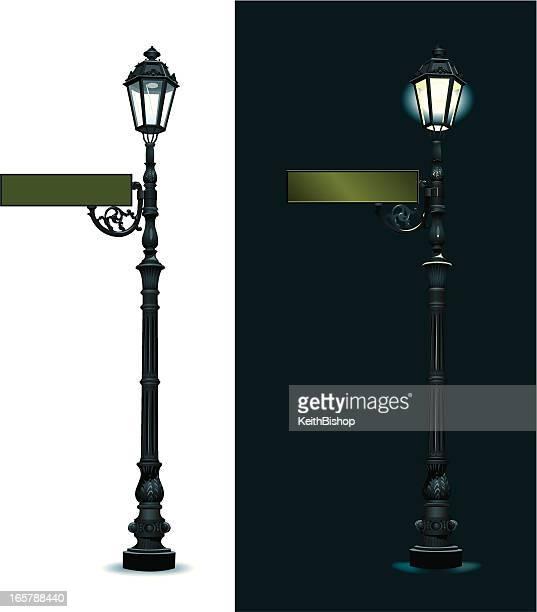 Señal de calle con luz