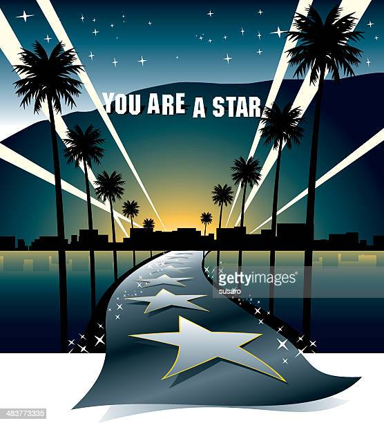 street to the stars - hollywood california stock illustrations