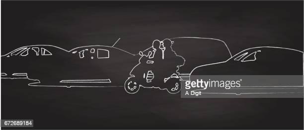 stockillustraties, clipart, cartoons en iconen met straat verkeer scooter - moped