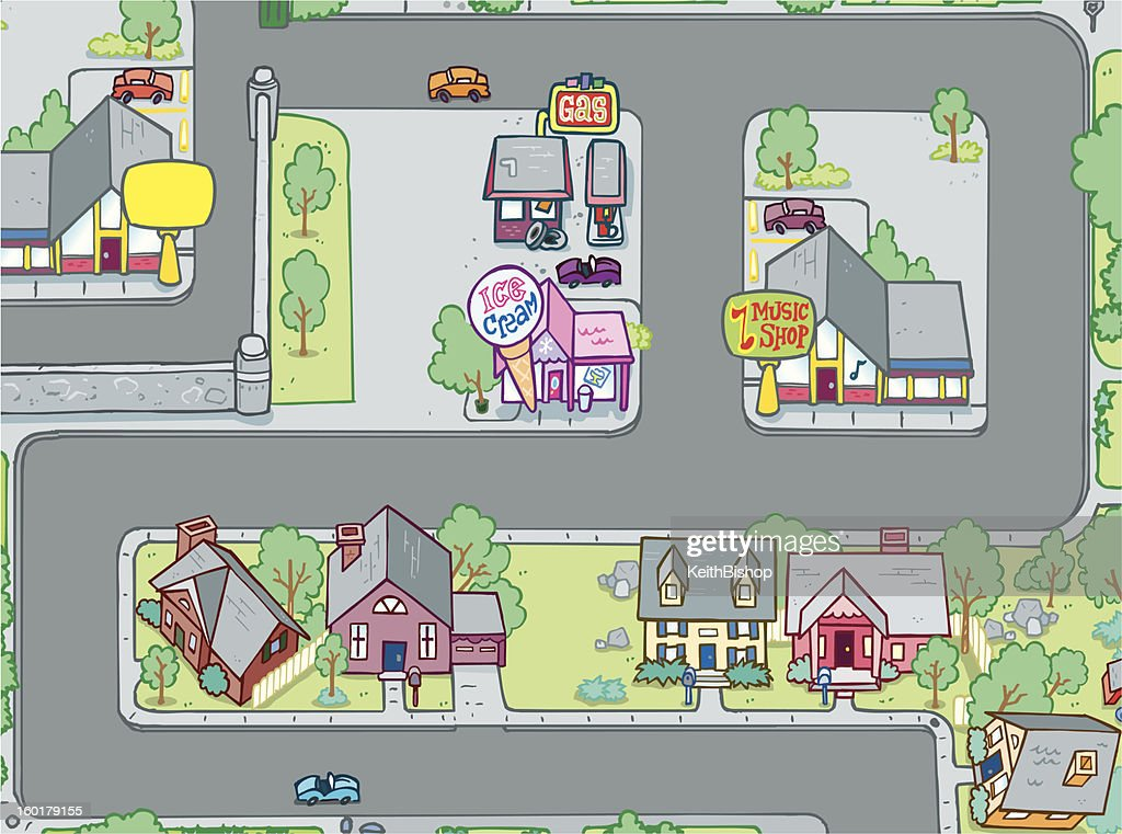 Street with Businesses and Homes Cartoon : Vector Art