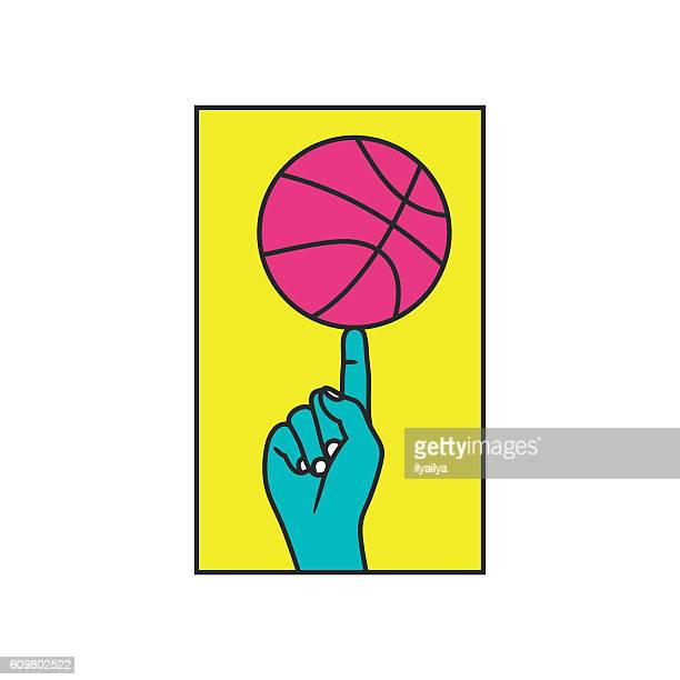 streetball. basketball contest vector illustration - spinning stock illustrations