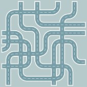 Streets and Roads Pattern in Retro Blue Gray Flat Design