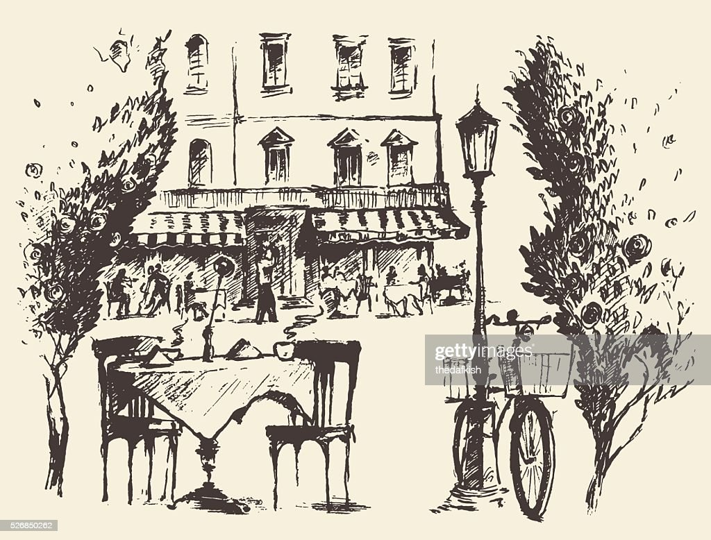 Streets Paris Vector cafe Vintage drawn sketch