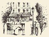 Streets Paris Vector cafe Vintage drawn sketch