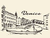 Streets Venice Italy gondola illustration drawn