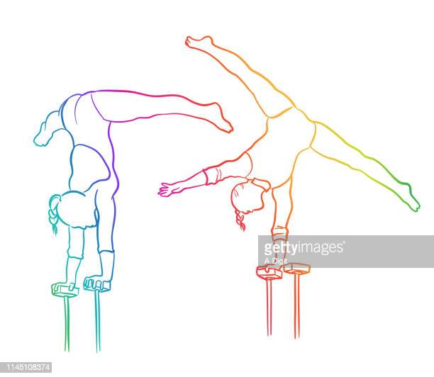 strength and balance rainbow - contortionist stock illustrations