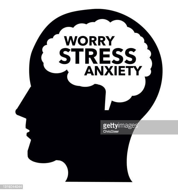 stockillustraties, clipart, cartoons en iconen met stress en angst - bewustwording over geestelijke gezondheid